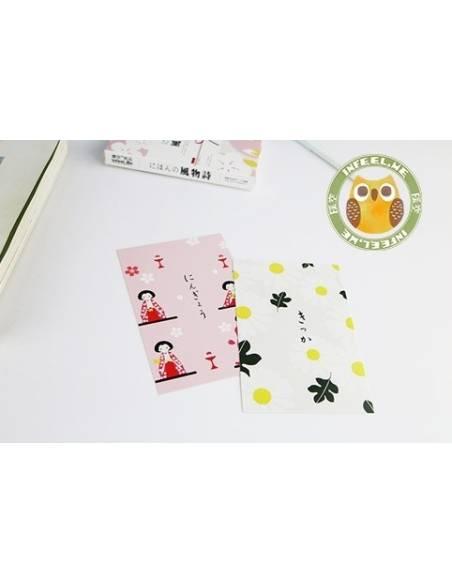 Papeterie japonaise - Carte postale japonaise Animaux - kokeshi