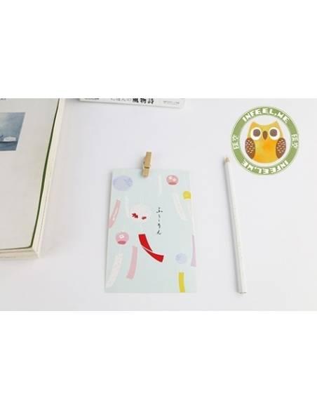 Papeterie japonaise - Carte postale japonaise Animaux - lanterne
