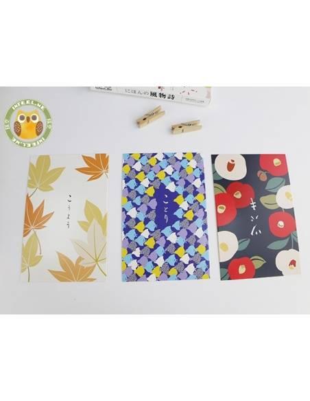 Papeterie japonaise - Carte postale japonaise Animaux - feuilles