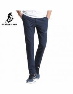 Pantalon coréen style casual coupe droite bleu face marque
