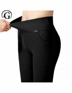 Pantalon coréen legging Taille Haute Slim noir zoom