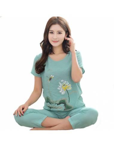 Pyjama femme japonais kawaii Coton vert clair