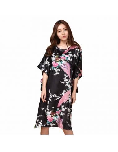 Robe pyjama japonais chemise de nuit femme Imitation Soie noir face