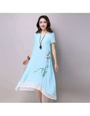 Robe coréenne été coton vintage imprimé floral bleu face