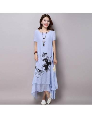 Robe coréenne voile été impression fleur femme grande taille mauve face