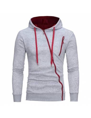Sweat coréen Capuche Slim Style Décontracté gris rouge