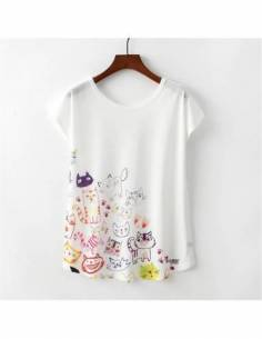 T-shirt japonais Japan Harajuku Style chats Kawaii face