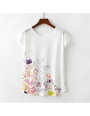 T-shirt japonais Japan Harajuku Style chats Kawaii face
