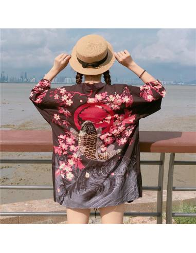 Kimono japonais femme Manches courtes Col V Poissons noir vue dos