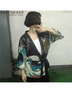 Kimono été femme carpe japonaise noir profil