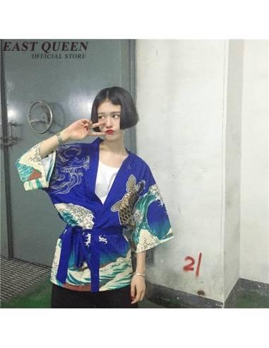 Kimono été femme carpe japonaise bleu face