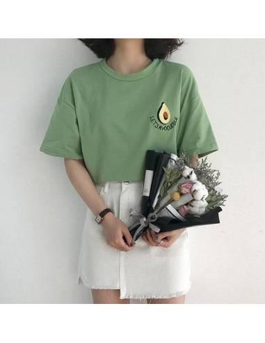 """Tee Shirt coréen orginal """"Avocat"""" style Corée vert face bouquet"""