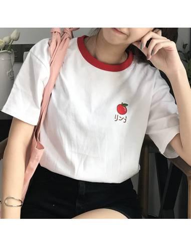 T-shirt japonais Femme fruits en hiragana rouge sac