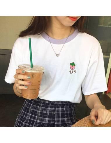 T-shirt japonais Femme fruits en hiragana mauve face