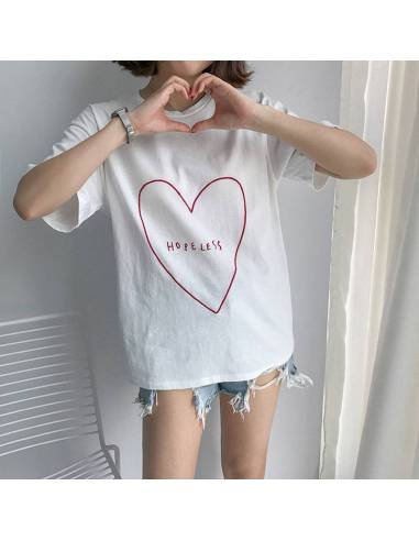 T-shirt Style japonais Grand Coeur blanc face mains