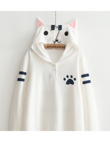 Neko Atsume Sweat  Capuche - Blanc