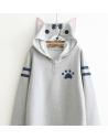 Neko Atsume Sweat  Capuche - gris