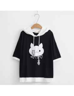 T-shirt à capuche chat
