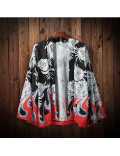Kimono cardigan imprimés rouge et noir