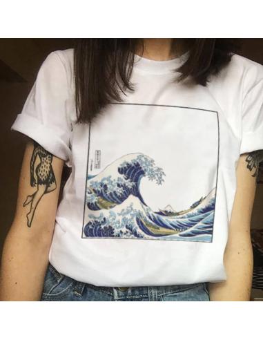 T-shirt harajuku imprimé vague