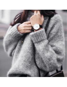 Pull tricoté gris