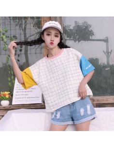 T-shirt Harajuku tricolore quadrillé