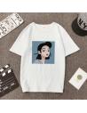 T-shirt imprimé visage femme