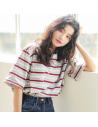 T-shirt oversiez rayé blanc et rouge