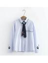 Chemisier à rayures cravatte chat