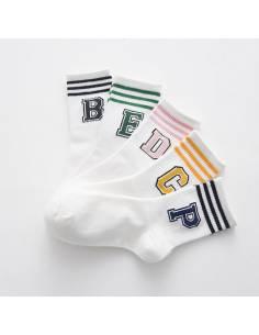 Chaussettes à rayures imprimés big letter