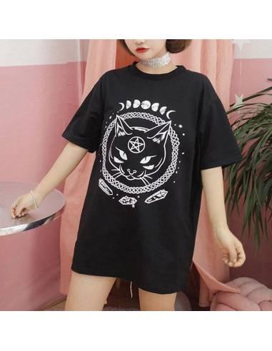 T-shirt oversize Chat Maléfique