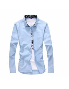 Chemise à col fleuri bleu