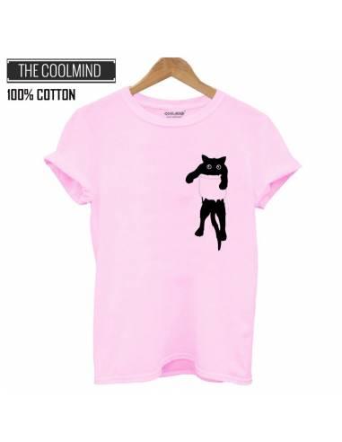 T-shirt Chat dans poche