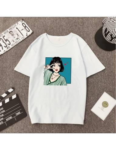 T-shirt imprimé V femme