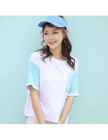 T-shirt Harajuku à manche bleu
