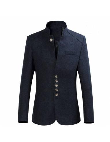 Manteau col mao Homme en laine de qualité