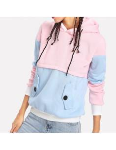 Sweat coloré capuche rose bleu