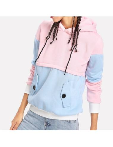 Sweat coloré capuche rose bleu